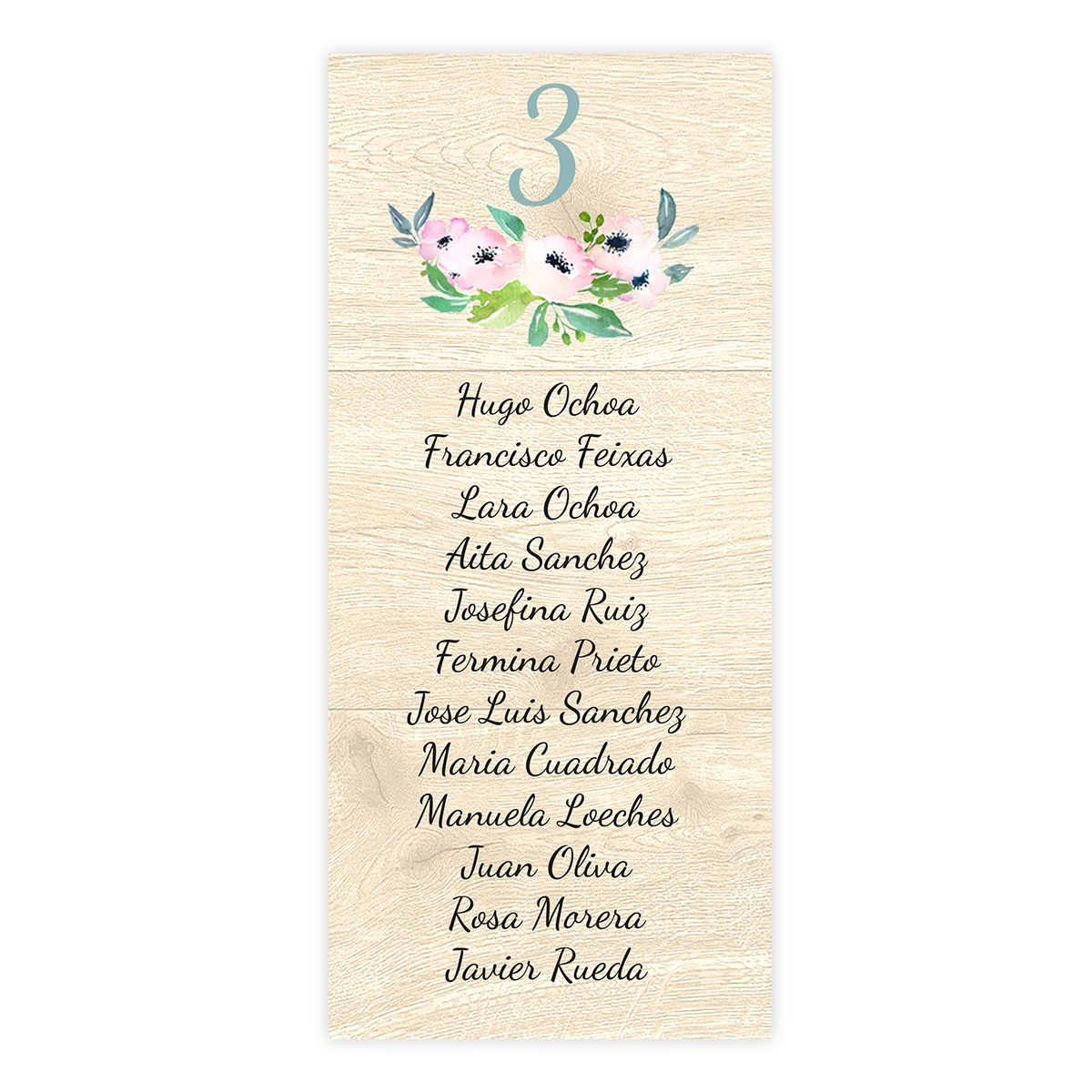Plan de mesa (Seating plan) boda Bliss Wood