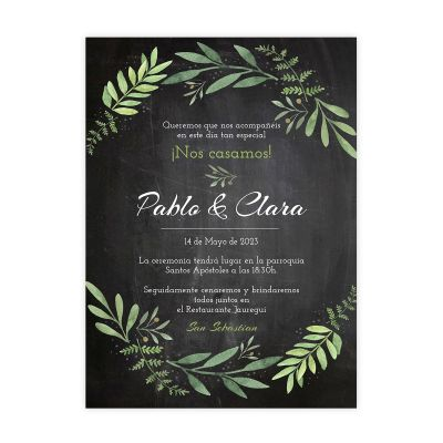Invitación boda Olivo Chalk