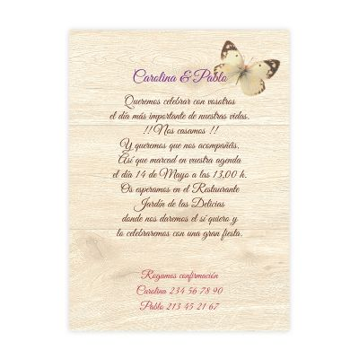 Invitación boda Canna Mail Wood