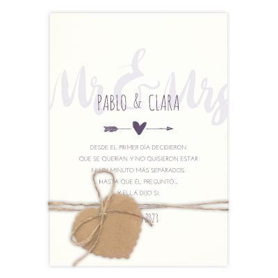 Invitación boda Mr & Mrs
