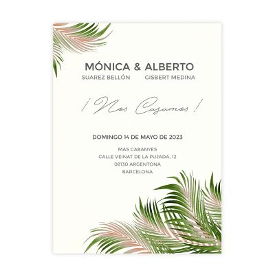 Invitación boda Palm