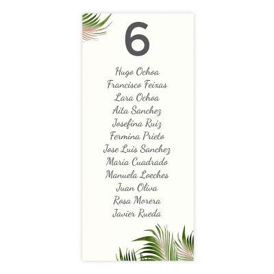Plan de mesa (Seating plan) boda Palm