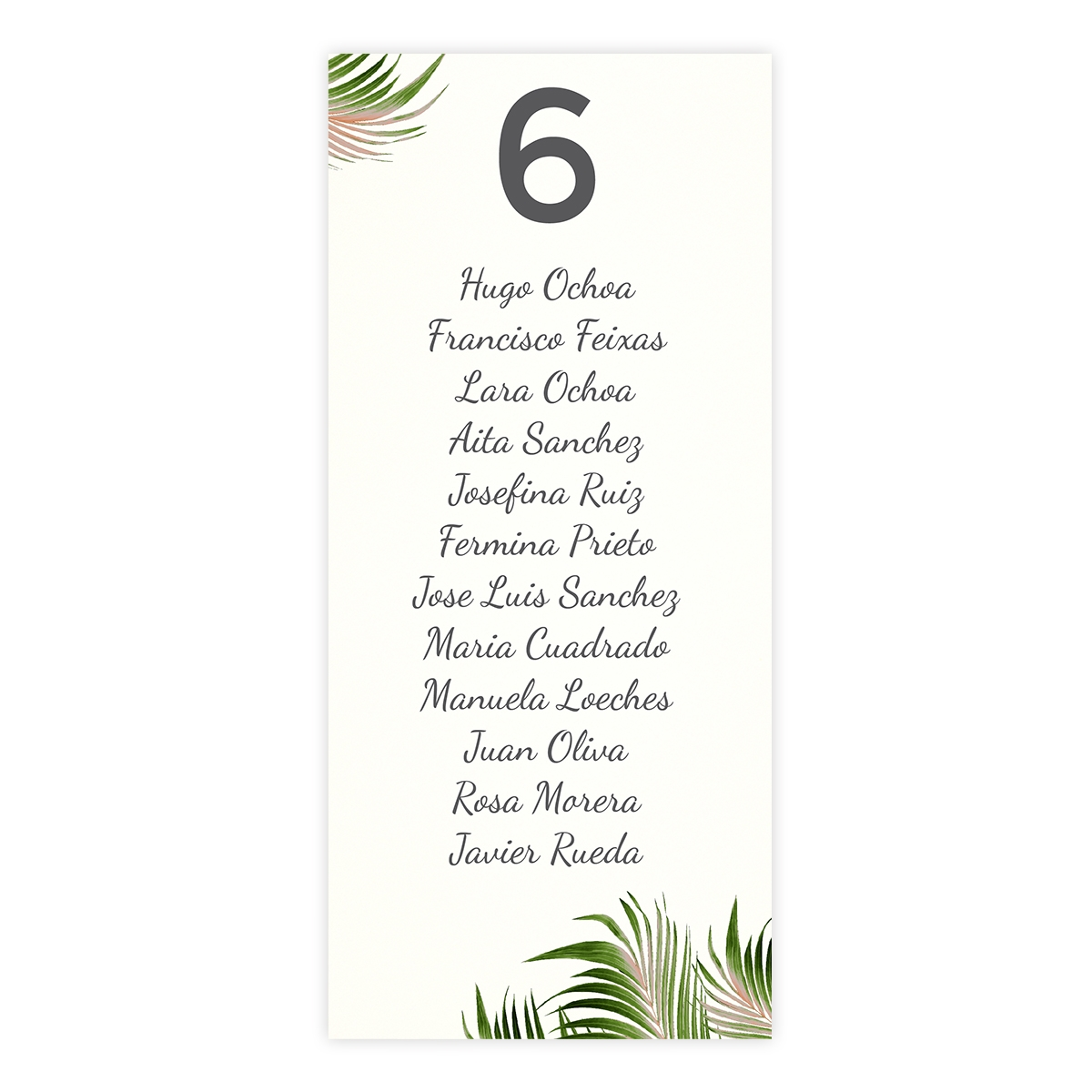 Plan de mesa (Seating plan) boda Palm