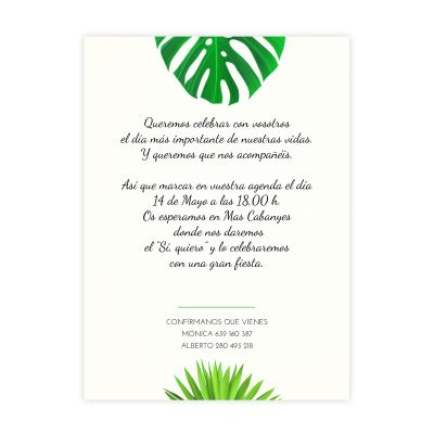 Invitación boda Tropical Chalk