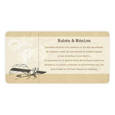 Invitación boda Typewriter Vintage Pass