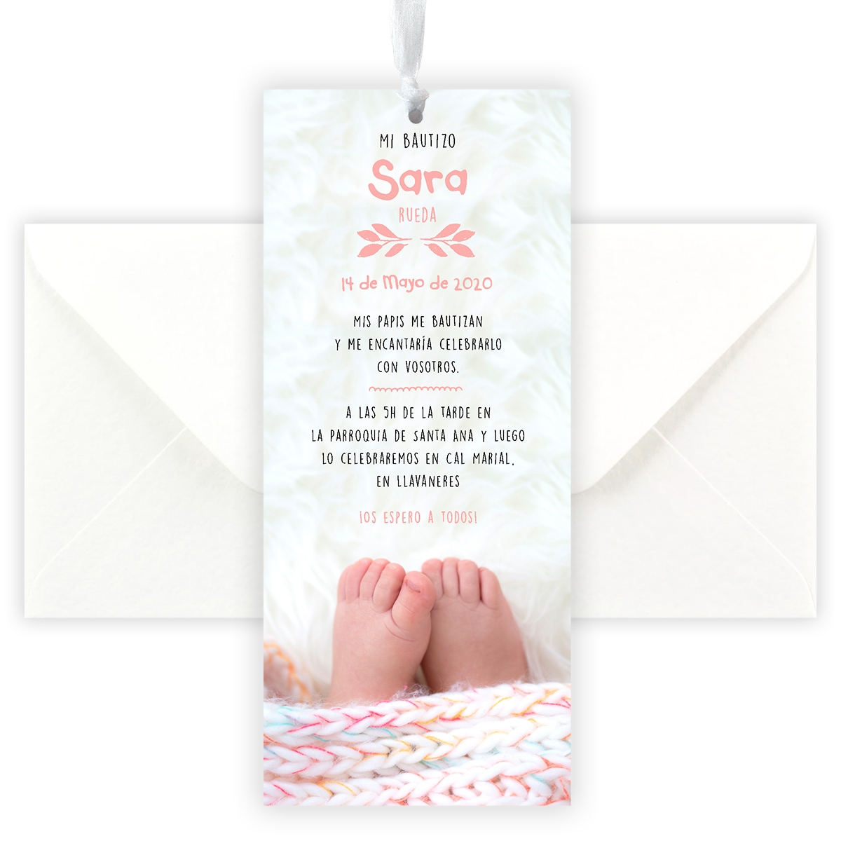 Invitación punto bautizo Feet