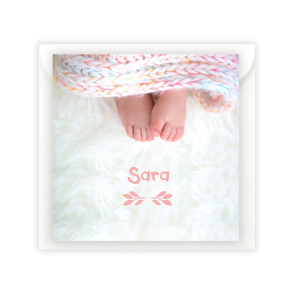 Invitación díptico bautizo Feet