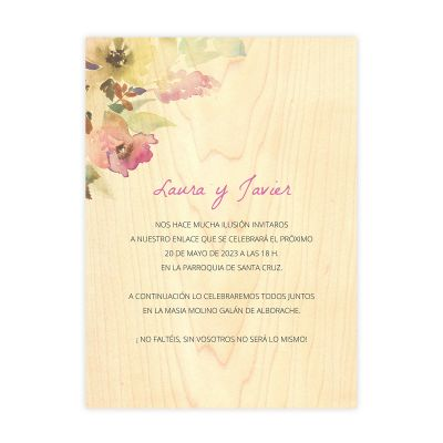 Invitación boda Wood Elia