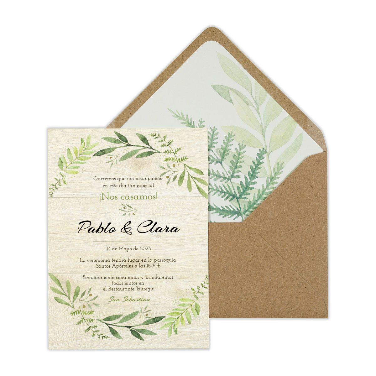 Invitación boda Olivo Wood