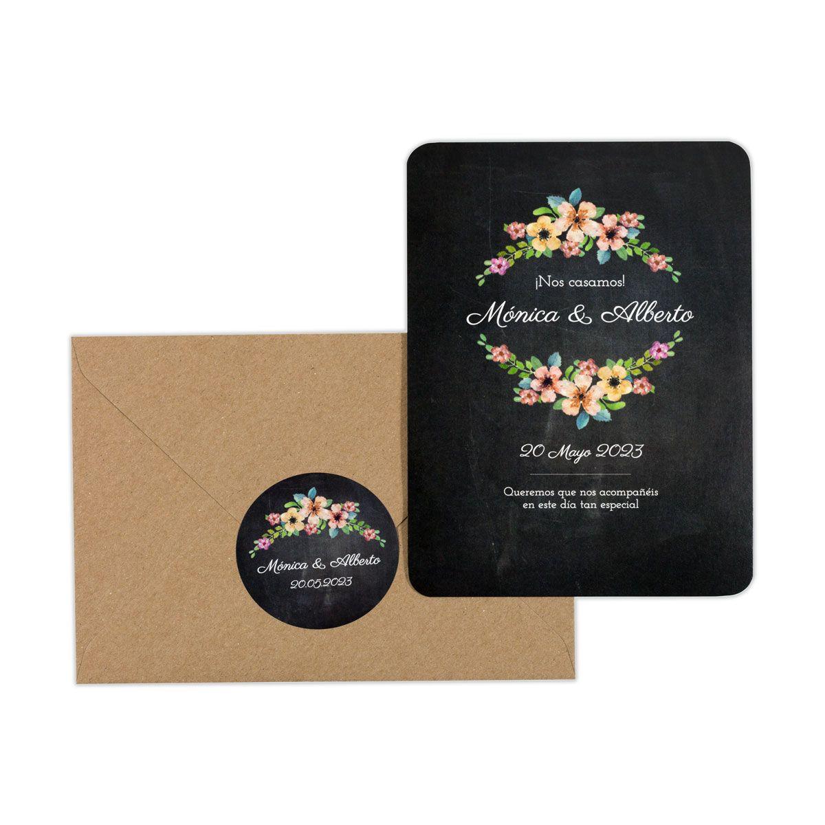 Invitación boda Wildflowers Chalk