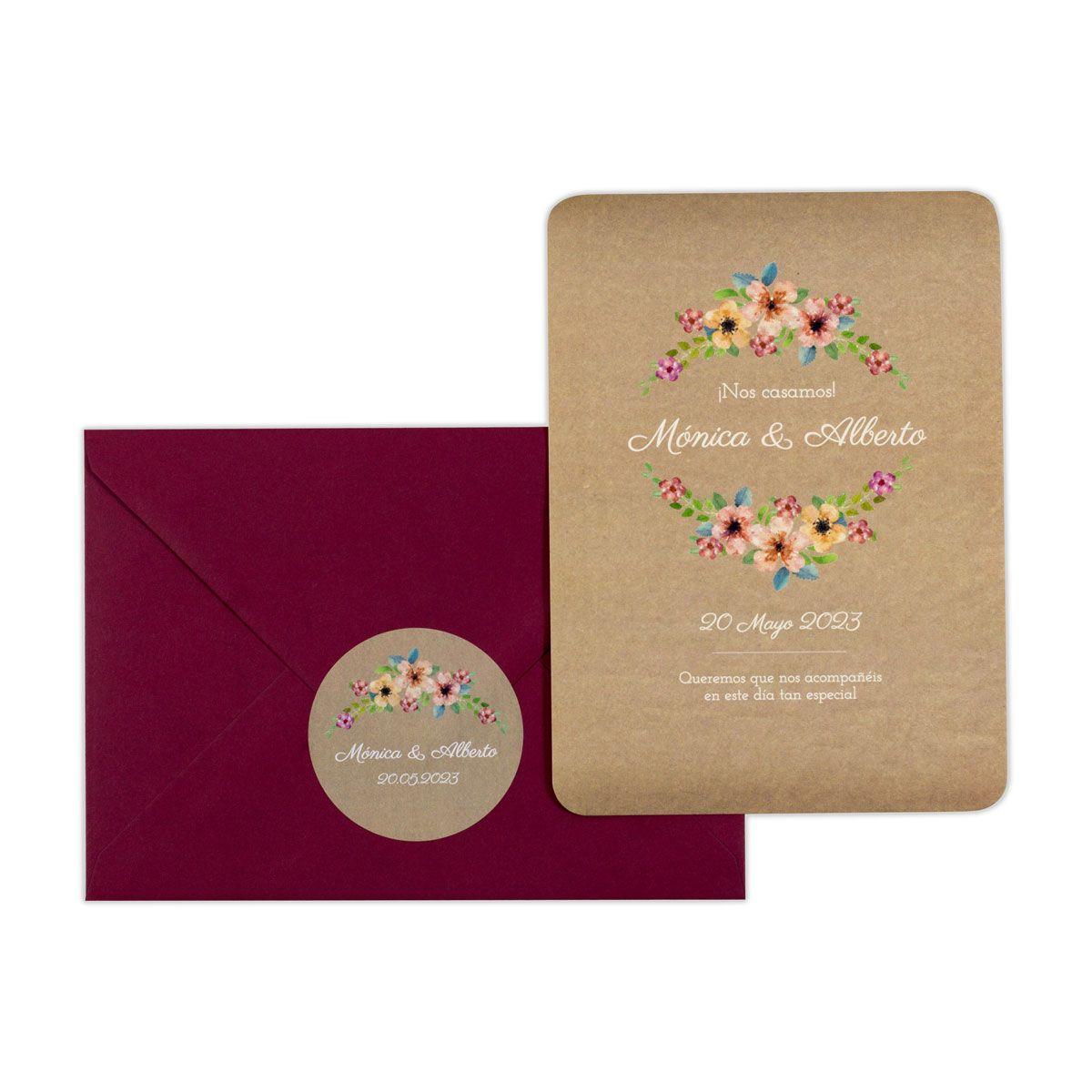 Invitación boda Wildflowers Kraft