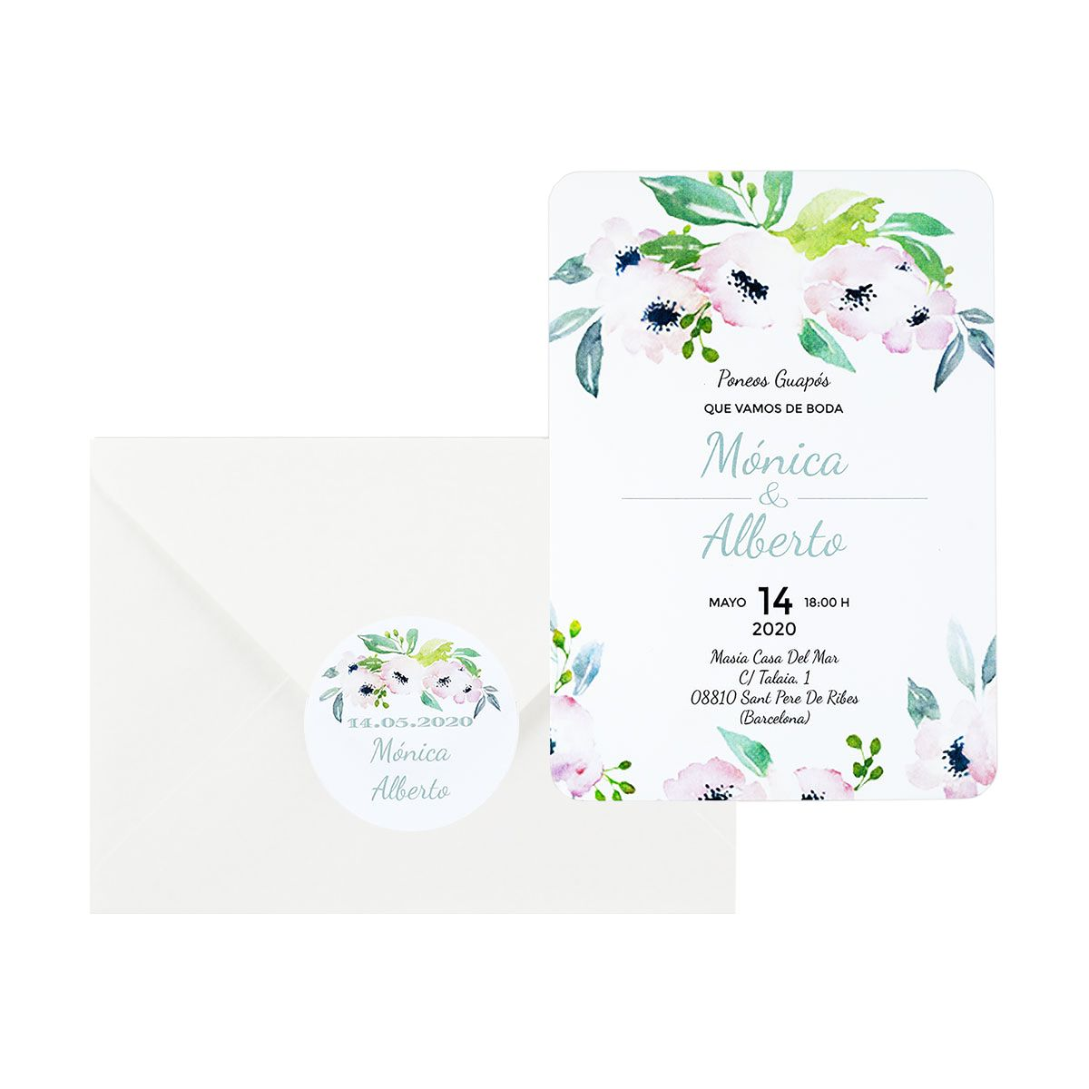 Invitación boda Bliss White