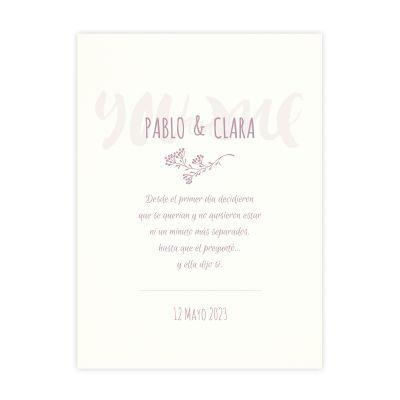 Invitación boda You and Me