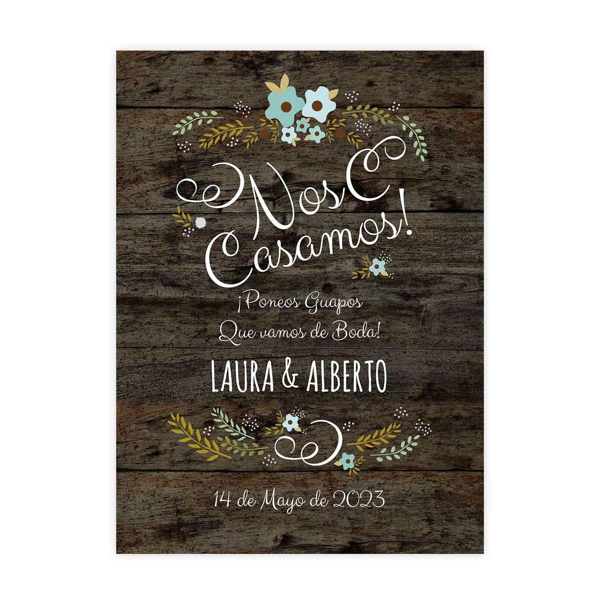 Invitación boda Wood Blue
