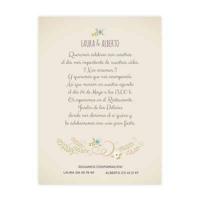 Invitación boda Wood Blue