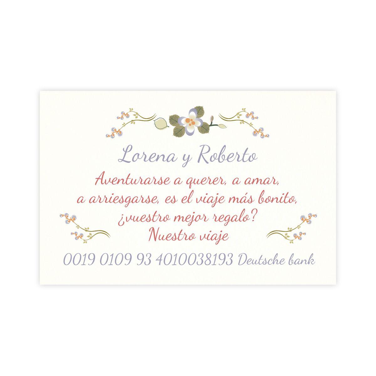 Tarjeta nº cuenta boda Mariposas