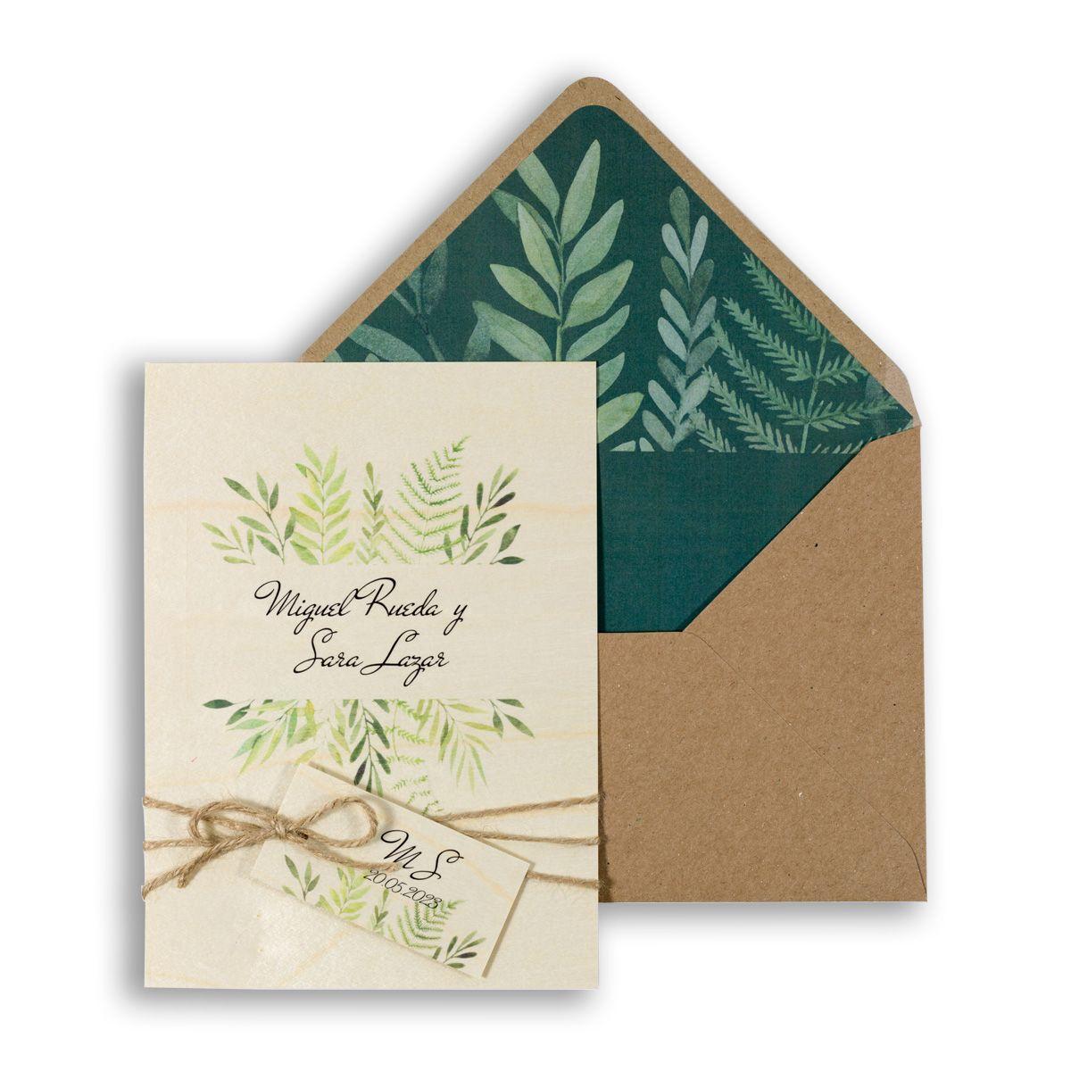Invitación boda Wood Hojas