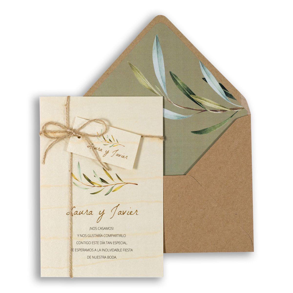 Invitación boda Wood Olivo