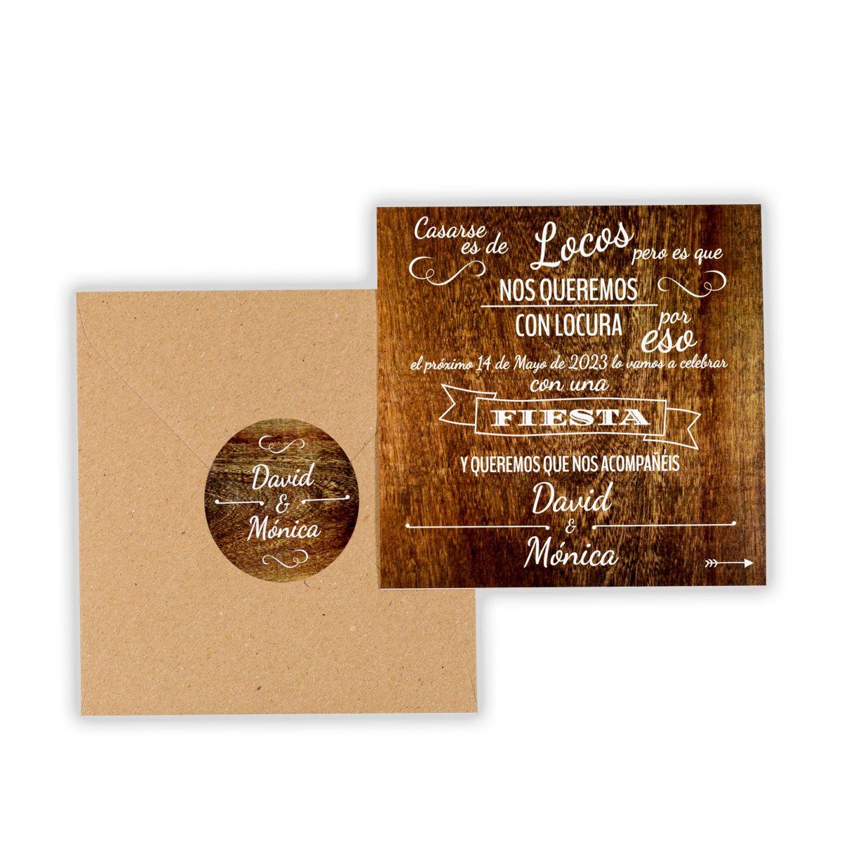 Invitación boda Lejano Oeste Wood