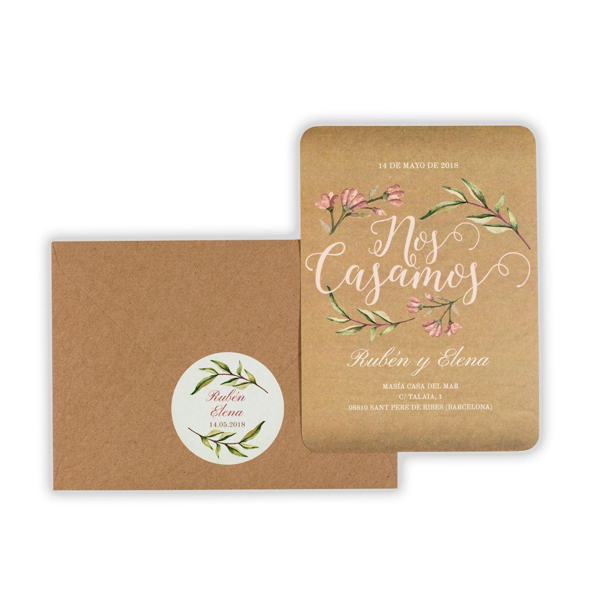 Invitación boda Blooms Kraft