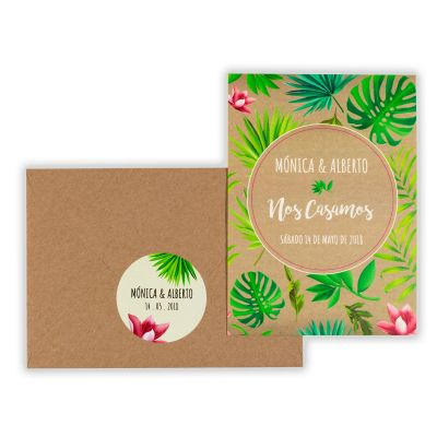 Invitación boda Tropical Kraft