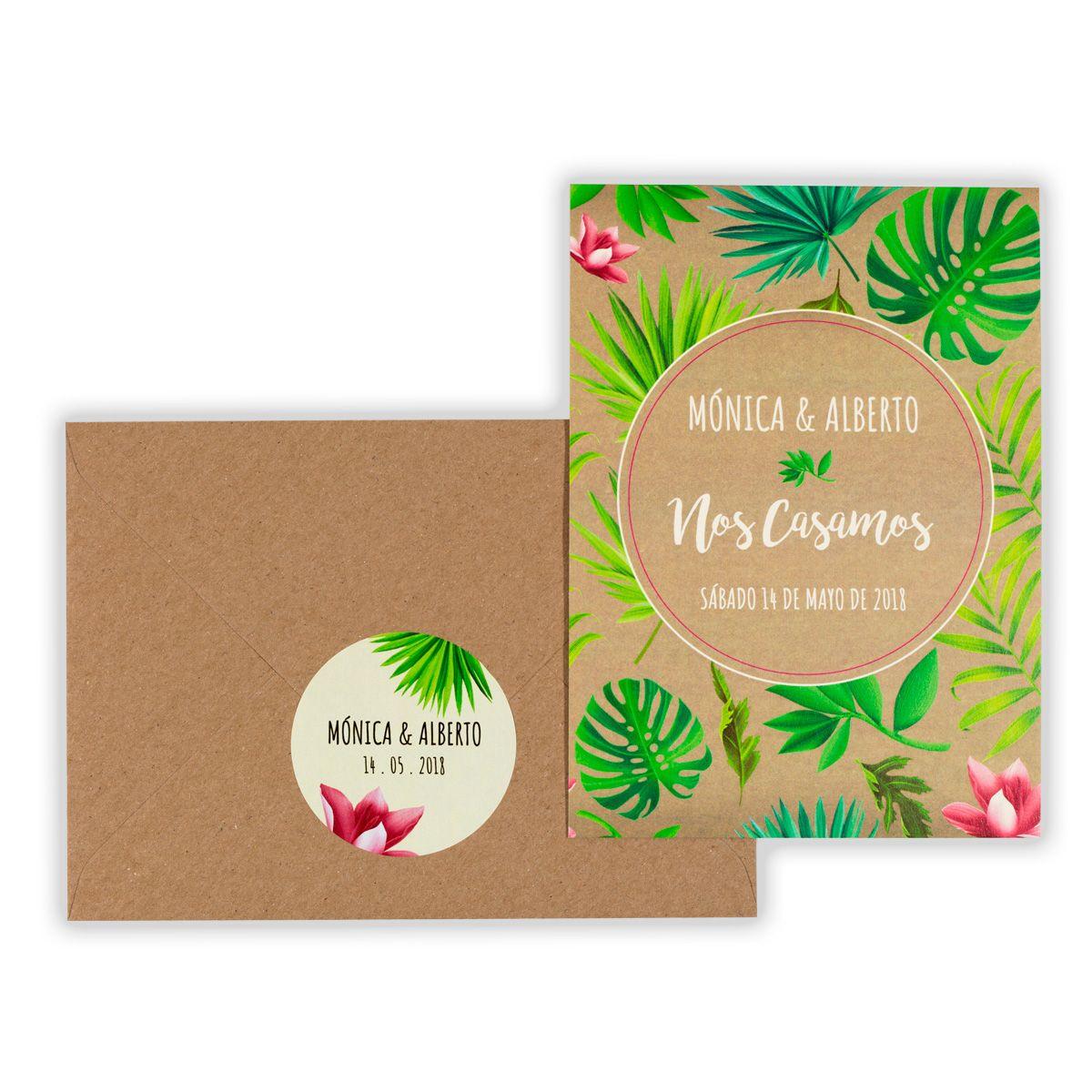 Invitación boda Tropical Kraft