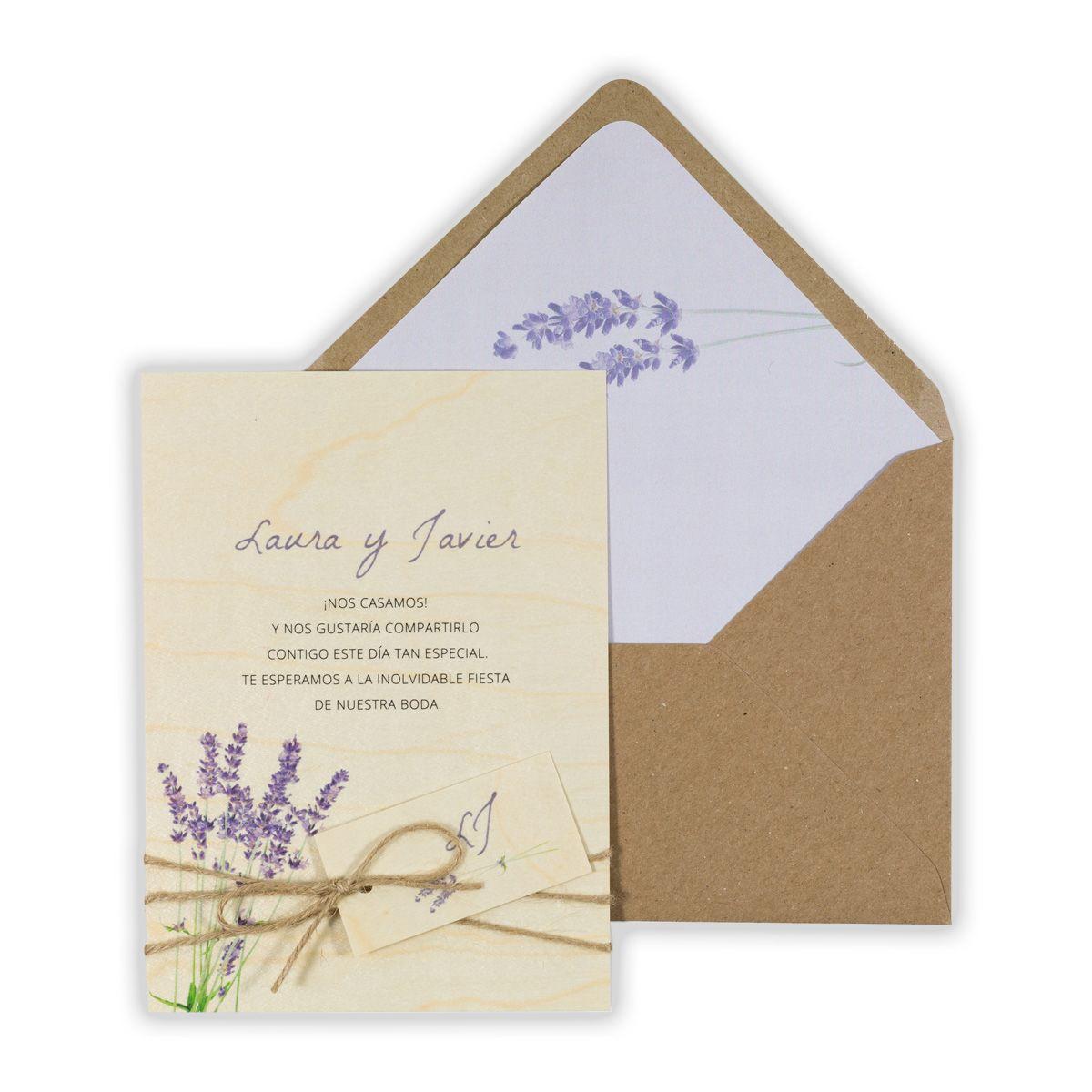 Invitación boda Wood Lavanda
