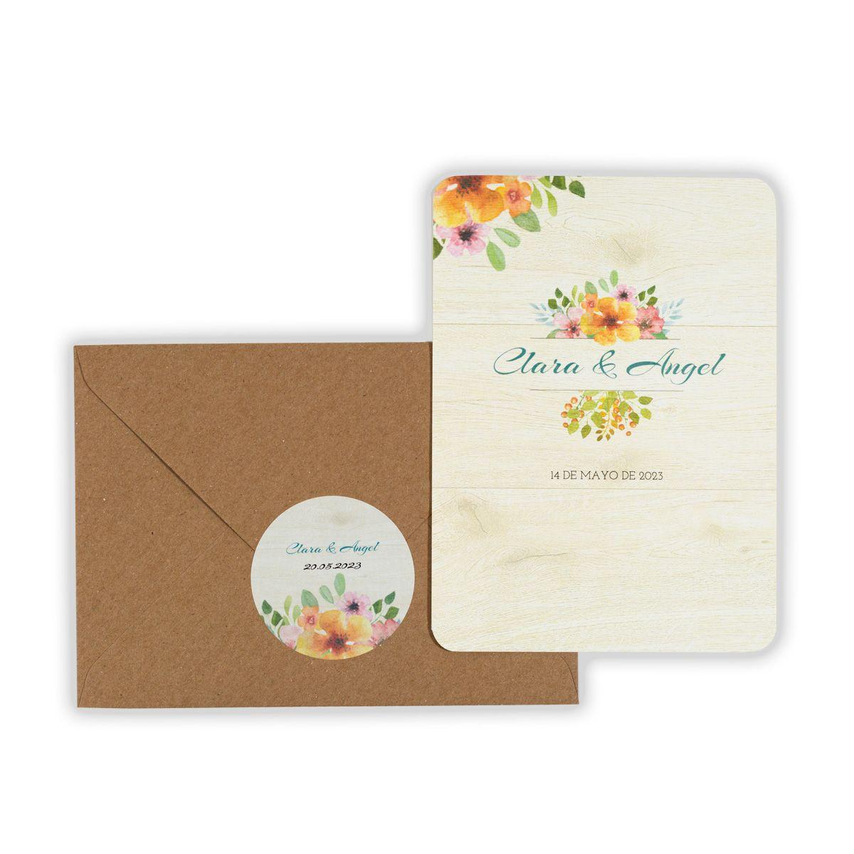 Invitación boda Floweret Wood