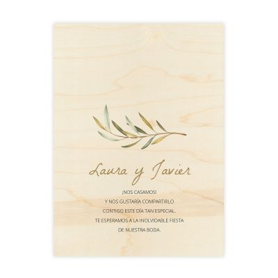 Invitación boda Wood Olivo