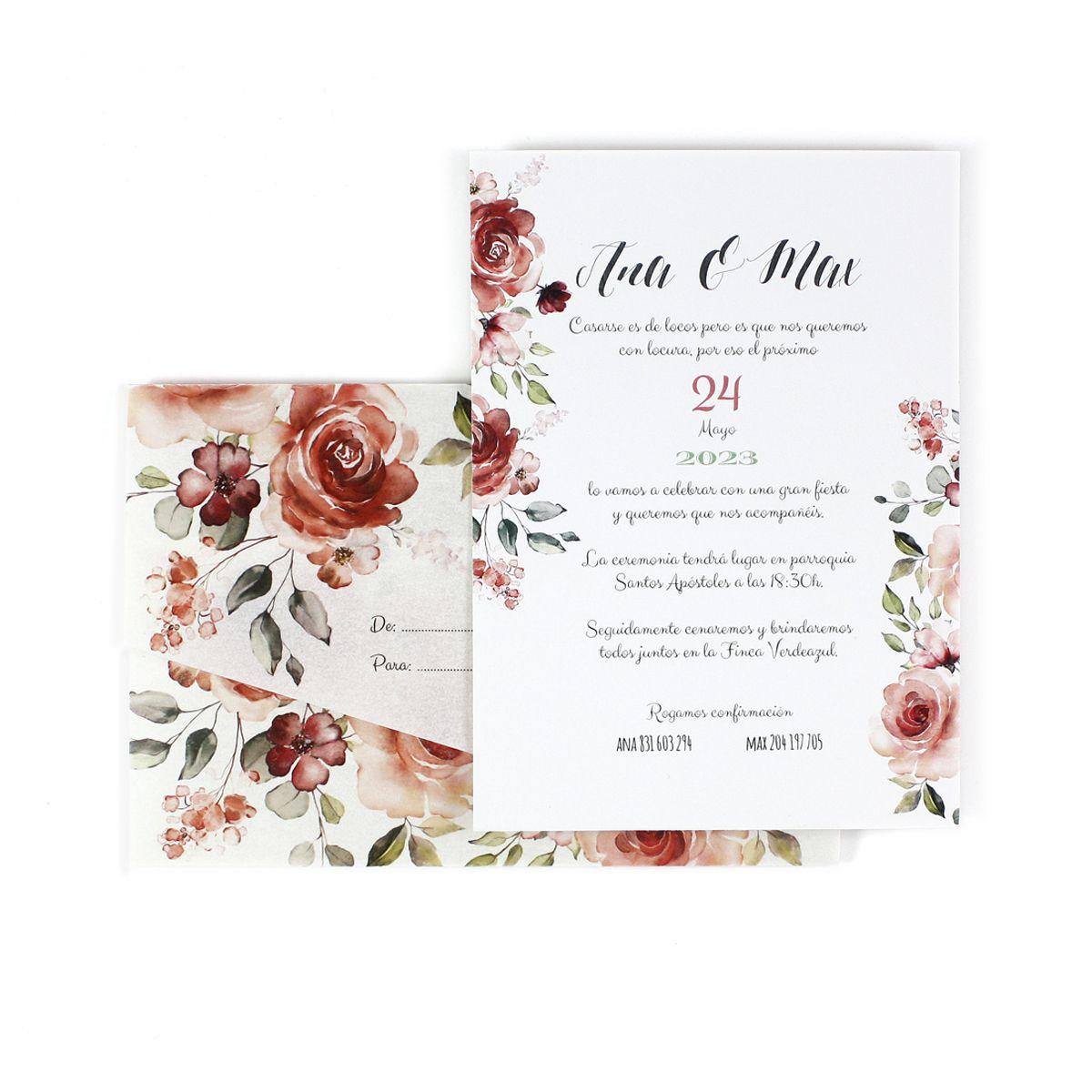 Invitación boda Granada con sobre vegetal