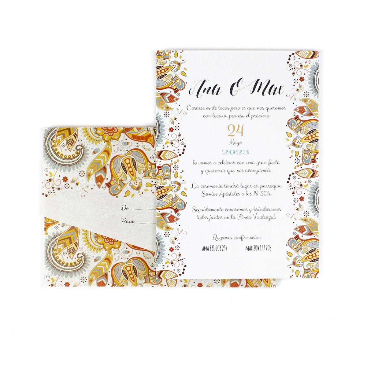Invitación boda Rainbow con sobre vegetal