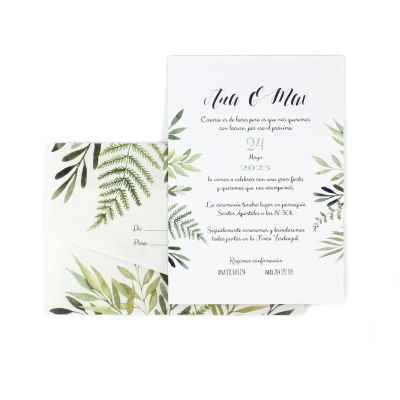 Invitación boda Toscana con sobre vegetal