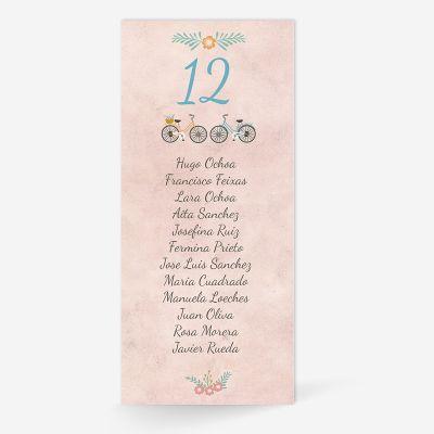 Plan de mesa (Seating plan) boda Bicis