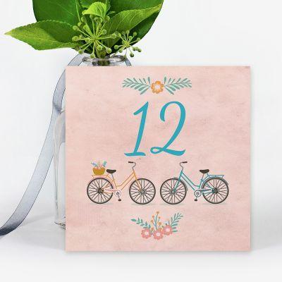 Número mesa boda Bicis