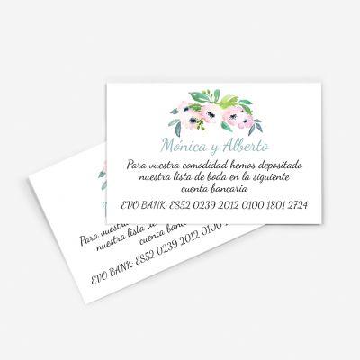 Tarjeta nº cuenta boda Etna
