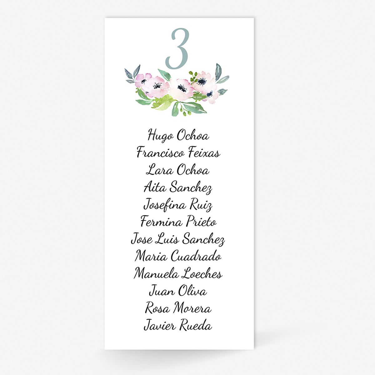 Plan de mesa (Seating plan) boda Etna