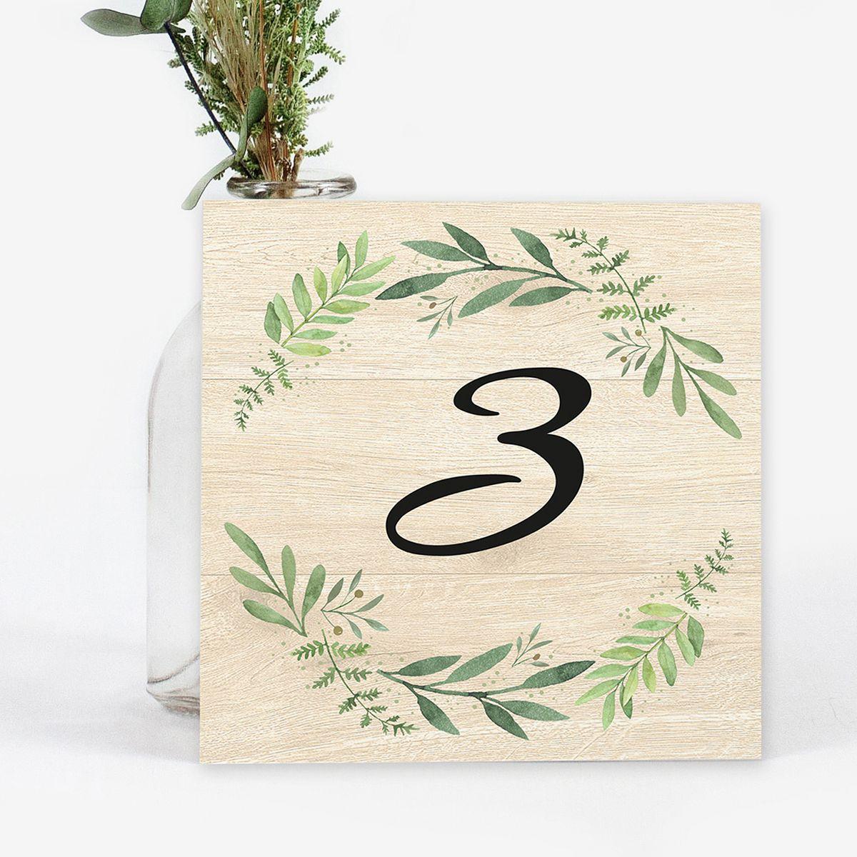 Número mesa boda Olivo Wood