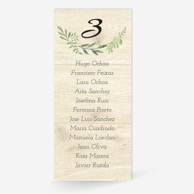 Plan de mesa (Seating plan) boda Olivo Wood