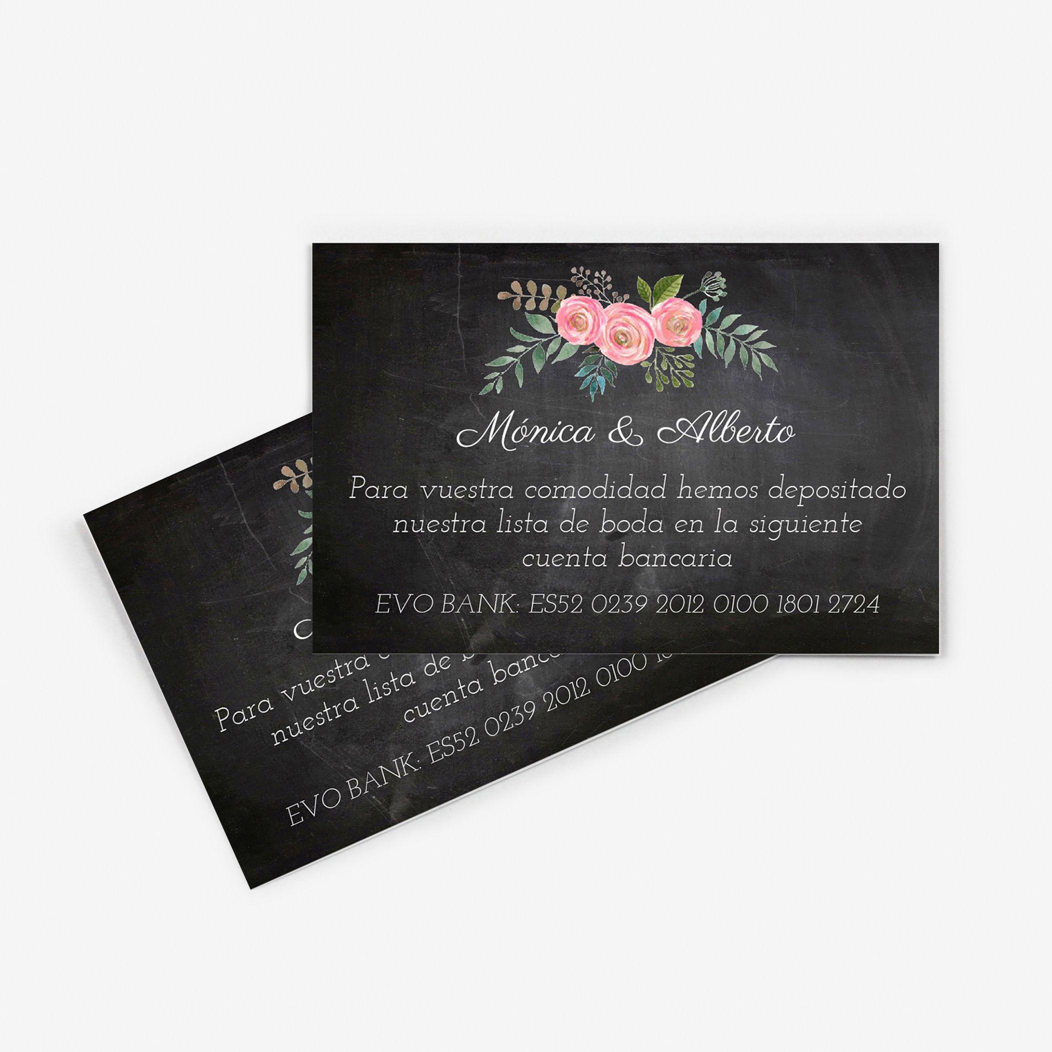 Tarjeta nº cuenta boda Serena Chalk