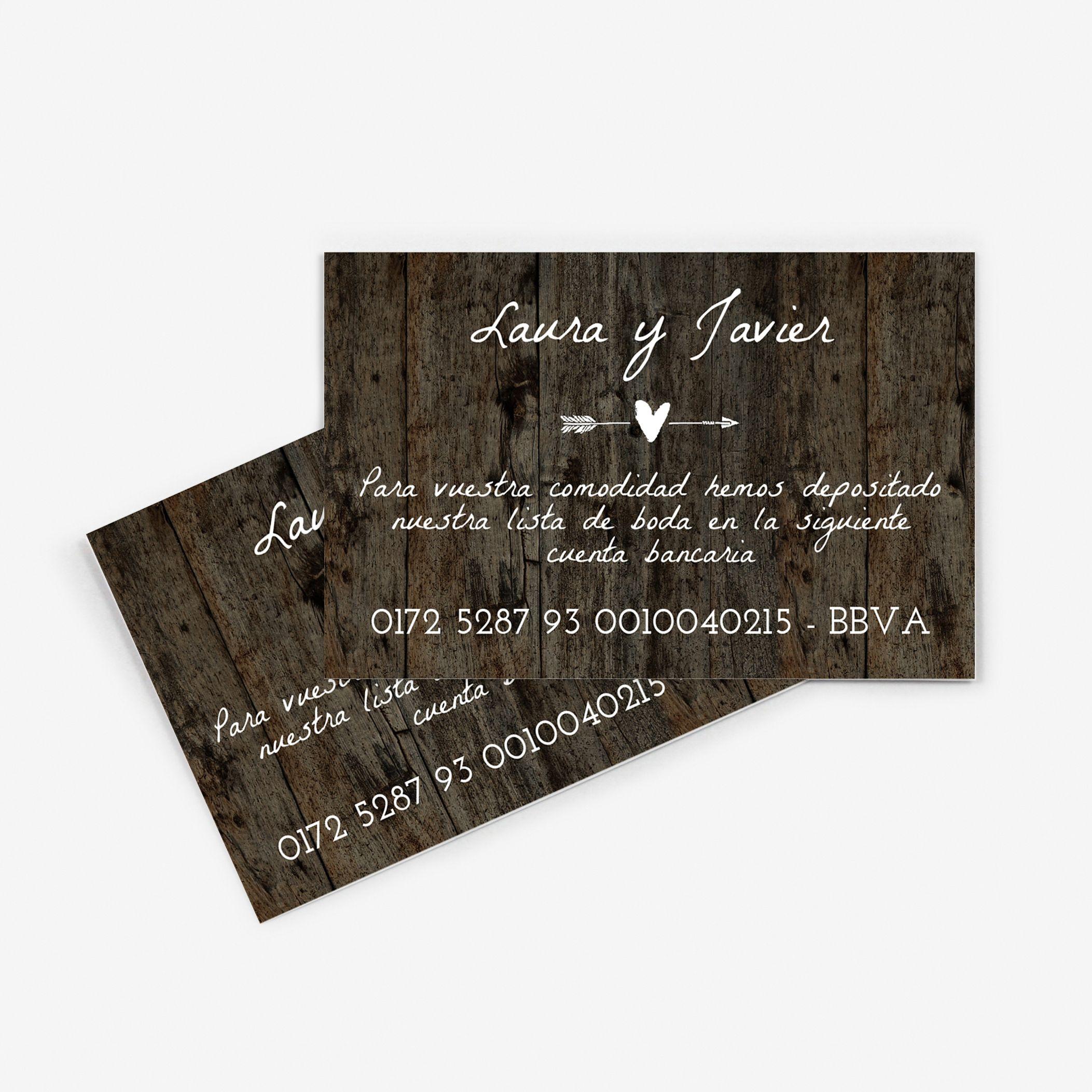 Tarjeta nº cuenta boda Wood Heart