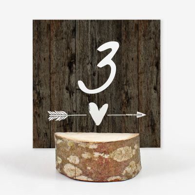 Número mesa boda Wood Heart