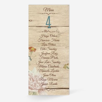 Plan de mesa (Seating plan) boda Canna Love Wood