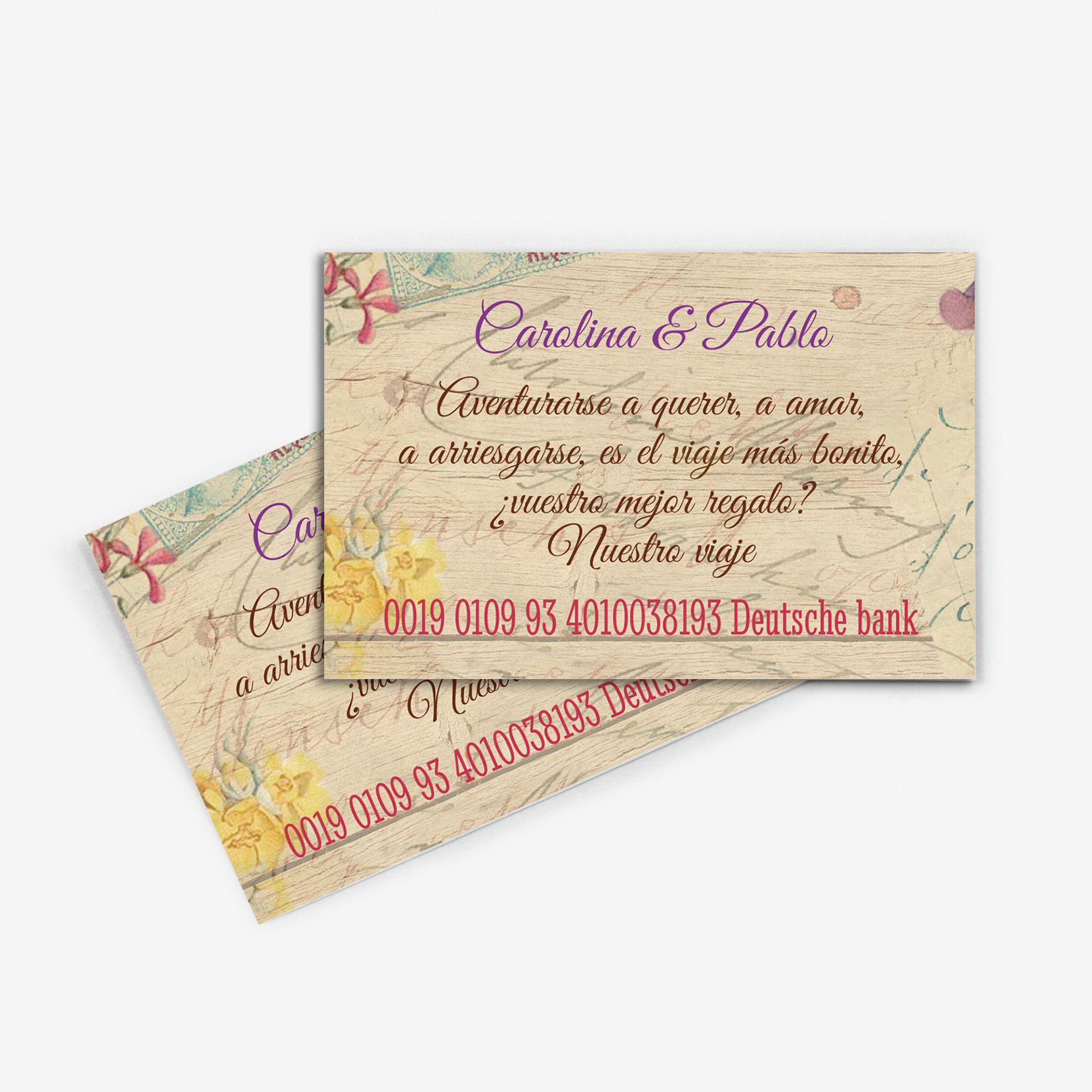 Tarjeta nº cuenta boda Canna Mail Wood