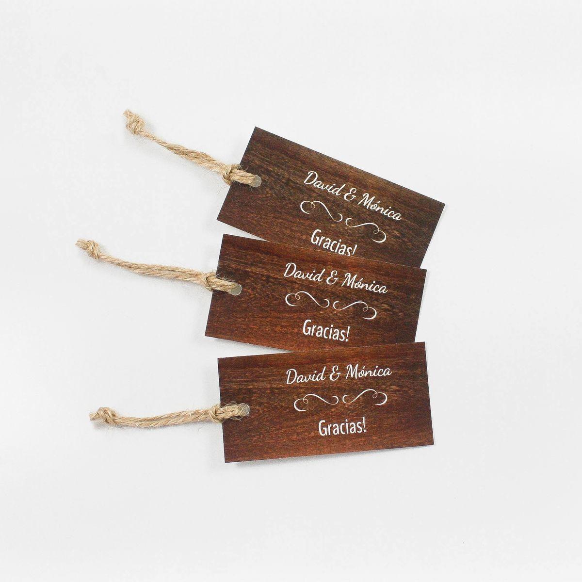 Etiqueta boda Lejano Oeste Wood
