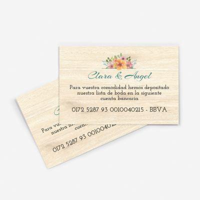 Tarjeta nº cuenta boda Floweret wood