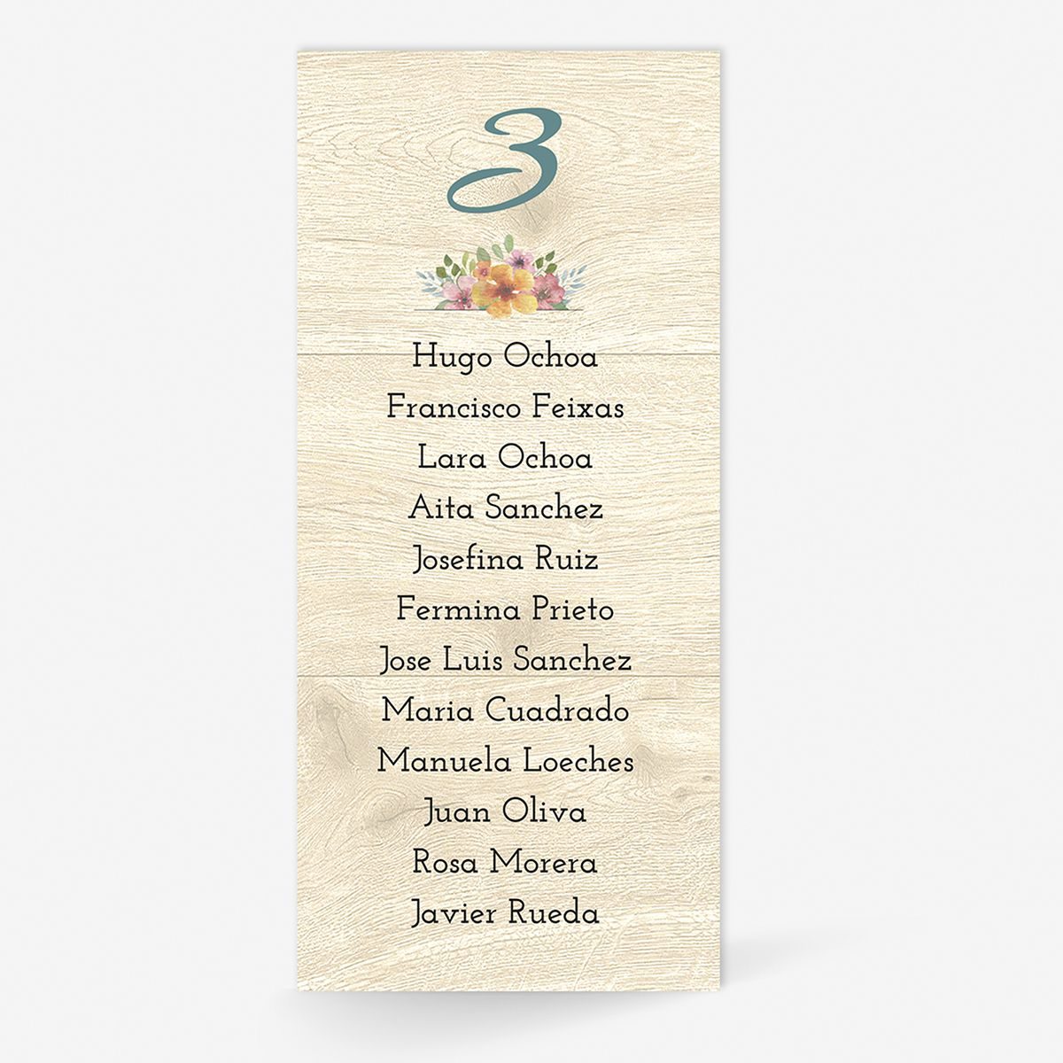 Plan de mesa (Seating plan) boda Floweret Wood