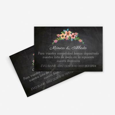 Tarjeta nº cuenta boda wildflowers chalk