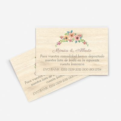 Tarjeta nº cuenta boda wildflowers wood