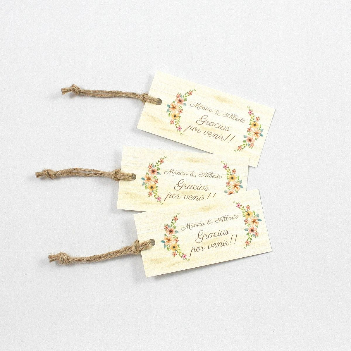Etiqueta boda Wildflowers Wood