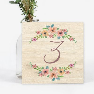 Número mesa boda Wildflowers Wood